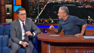 Jon Stewart Takes Over 'The Late Show' To Colorfully Describe How Stephen Colbert Does His Job
