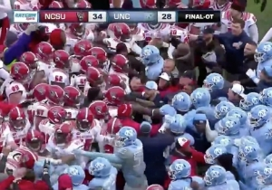 A Brawl Broke Out After NC State Scored A Walk-Off Touchdown In Overtime Against North Carolina