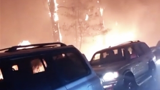 Terrifying Video Footage Shows California Residents Fleeing Rampant Wildfires