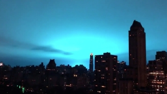 People Were Freaked Out By A Massive Flashing Blue Light Over New York City