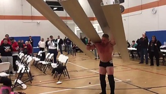 Watch This Wrestler Attack His Opponents With An Entire Section Of Bleachers