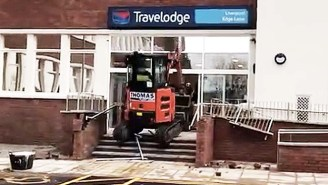 An Unpaid Construction Worker Destroyed The Front Of A Liverpool Travelodge With An Excavator