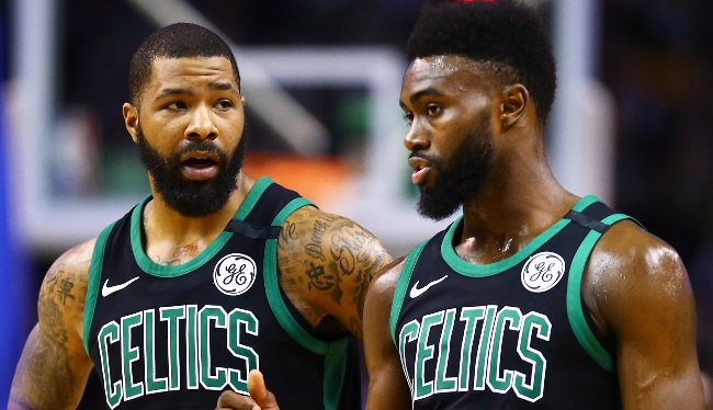 Marcus Morris And Jaylen Brown Had To Be Separated During A Timeout