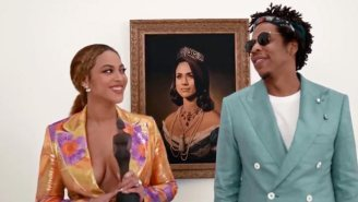 Beyonce And Jay-Z Accepted Their Brit Award In Front Of A Portrait Of Meghan Markle