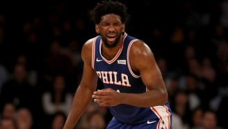Joel Embiid Almost Crushed Oscar Nominee Regina King Chasing Down A Loose Ball Against The Knicks