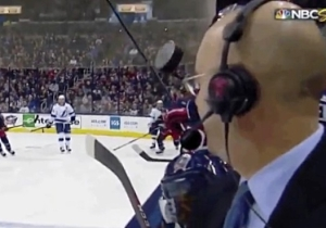NBC Hockey Reporter Pierre McGuire Narrowly Avoided Taking A Puck To The Face