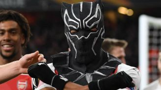 An Arsenal Player Celebrated A Goal By Pulling Out A 'Black Panther' Mask And Gloves