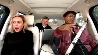 Brie Larson Can't Believe Samuel L. Jackson's Lie Detector Results In A 'Carpool Karaoke' Preview