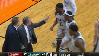 Tom Izzo Had To Be Restrained By His Players While He Screamed At Freshman Forward Aaron Henry