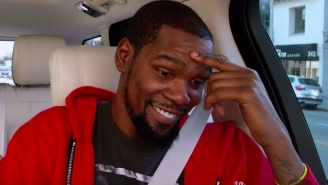 Watch Kevin Durant Lose It At Travis Scott Singing Showtunes For 'Carpool Karaoke'