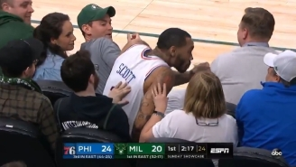 Mike Scott Stole A Sip Of A Bucks Fan's Drink After Diving Into The Crowd