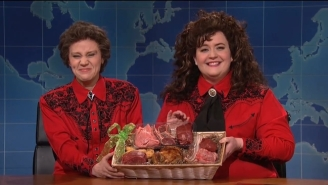 Kate McKinnon And Aidy Bryant Couldn't Keep It Together On An 'SNL' Weekend Update Bit About Meat Baskets