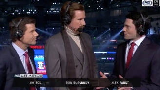 Will Ferrell Dressed Up As Ron Burgundy And Appeared In The Booth At An L.A. Kings Game