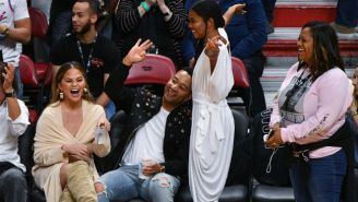 Chrissy Teigen And John Legend Got A Drink Spilled On Them When Dwyane Wade Crashed Into Them Courtside