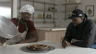 Watch Serge Ibaka Grill Kawhi Leonard With Tough Questions Then Serve Him Beef Penis Pizza