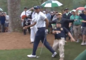 Tiger Woods Got Slide Tackled By A Security Guard At The Masters And Still Made Birdie