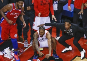Kawhi Leonard's Winner Set To Verne Lundquist's Call Of Tiger Woods' Iconic Chip Is Perfect