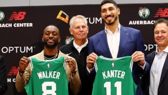 Enes Kanter Trolled Kyrie Irving During His Celtics Press Conference When Asked Why He Chose No. 11