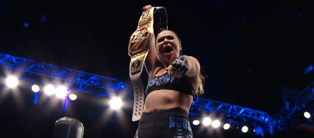 Ronda Rousey with the WWE Raw Women's Championship
