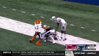 Jackson State's Mascot Got A 15-Yard Penalty For Pulling Players Off A Pile In The End Zone