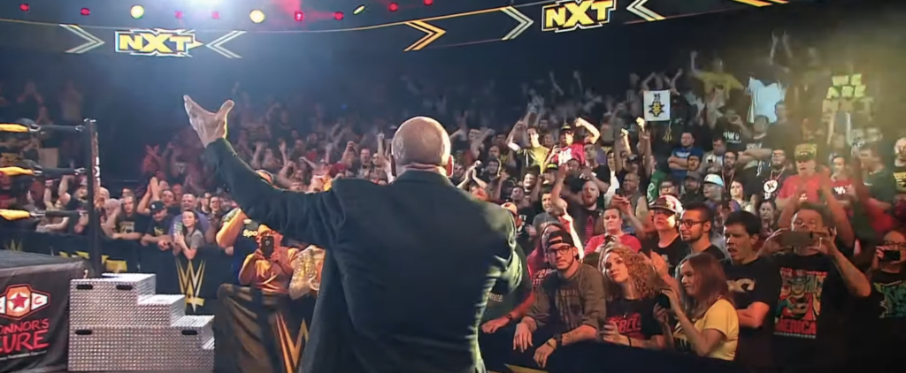 Triple H addresses the NXT crowd after the USA debut