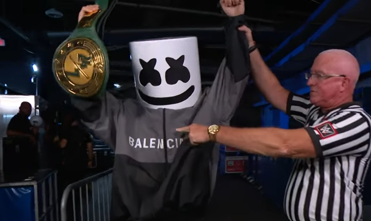 Marshmello Met The Bella Twins And Won The 24/7 Championship Backstage At WWE Smackdown
