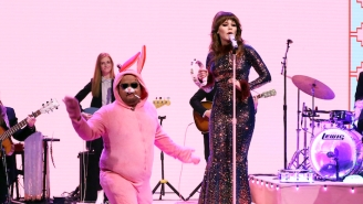 Jenny Lewis Is Joined By A Cigarette-Smoking Pink Bunny While Performing 'Rabbit Hole' On 'Fallon'