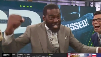 Randy Moss Was So Excited To Put His Son's Catch Against Alabama On ESPN's 'Mossed'
