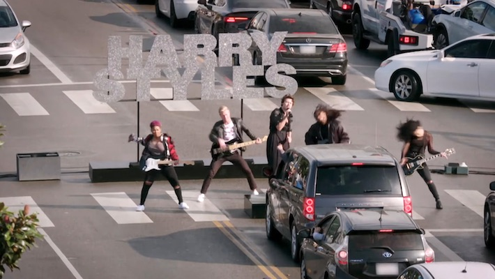 Harry Styles Reluctantly Performs A Crosswalk Concert On 'The Late Late Show'