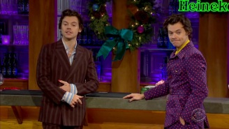 Harry Styles Interviewed Himself, Did 'Carpool Karaoke,' And Performed 'Adore You' On 'Late Late Show'