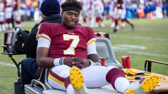 Redskins QB Dwayne Haskins Was Carted Off The Field With An Ankle Injury After A Low Hit