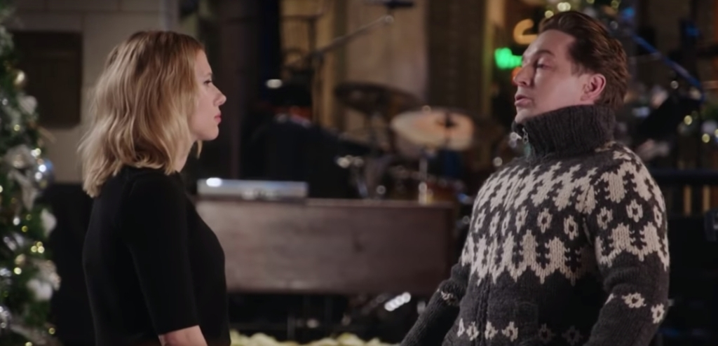 Scarlett Johansson Mocks Beck Bennett's Itchy Sweater On The Latest 'SNL' Promo