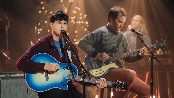 Vampire Weekend And A Children's Choir Performed A Festive 'Harmony Hall' On 'Corden'