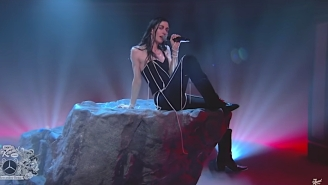 Caroline Polachek Sang 'So Hot You're Hurting My Feelings' Atop A Rotating Boulder On 'Kimmel'