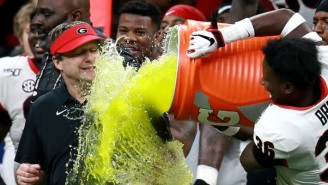 Georgia Coach Kirby Smart Took A Gatorade Bath To The Face After Winning The Sugar Bowl