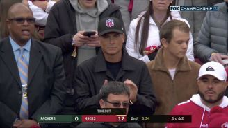 Rob Lowe Wearing An NFL Hat To Packers-49ers Was The Most Interesting Moment Of The Game