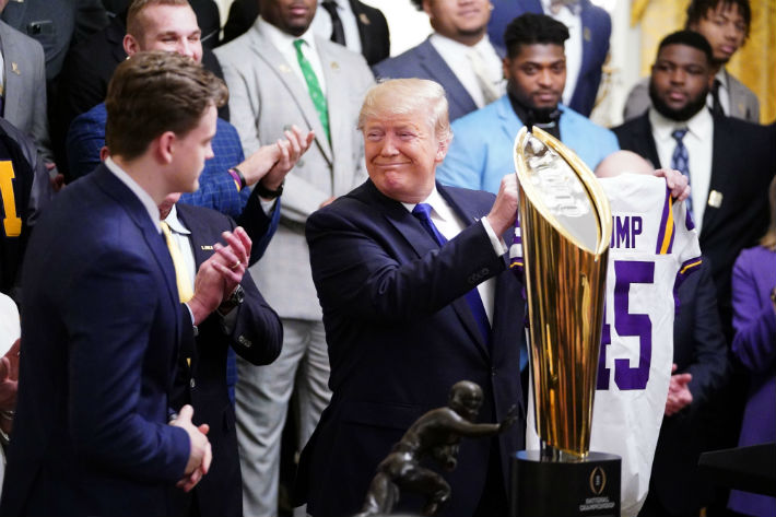It Got A Bit Awkward When Donald Trump Hosted Joe Burrow And LSU At The White House
