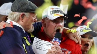 Andy Reid Celebrated The Super Bowl Win With A Cheeseburger, Pitbull, And His Wife