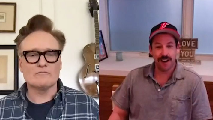 Conan O'Brien And Adam Sandler's Mustache Got Loopy And A Little Bit Lewd During Their Quarantine Chat