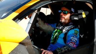 Rally Driver Ken Block Discusses Getting Behind The Wheel And Going Head-To-Head With Idris Elba