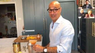 Stanley Tucci Brings His Cocktail-Mixing Skills To John Krasinski's 'Good News' Potluck With Guy Fieri