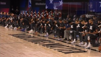 The Jazz And Pelicans Took A Knee During The National Anthem Before The First Game Of The NBA's Bubble