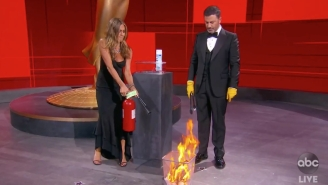 Jennifer Aniston Putting Out A Fire Was The Best Way To Begin Tonight's Sure-To-Be-Messy Emmys