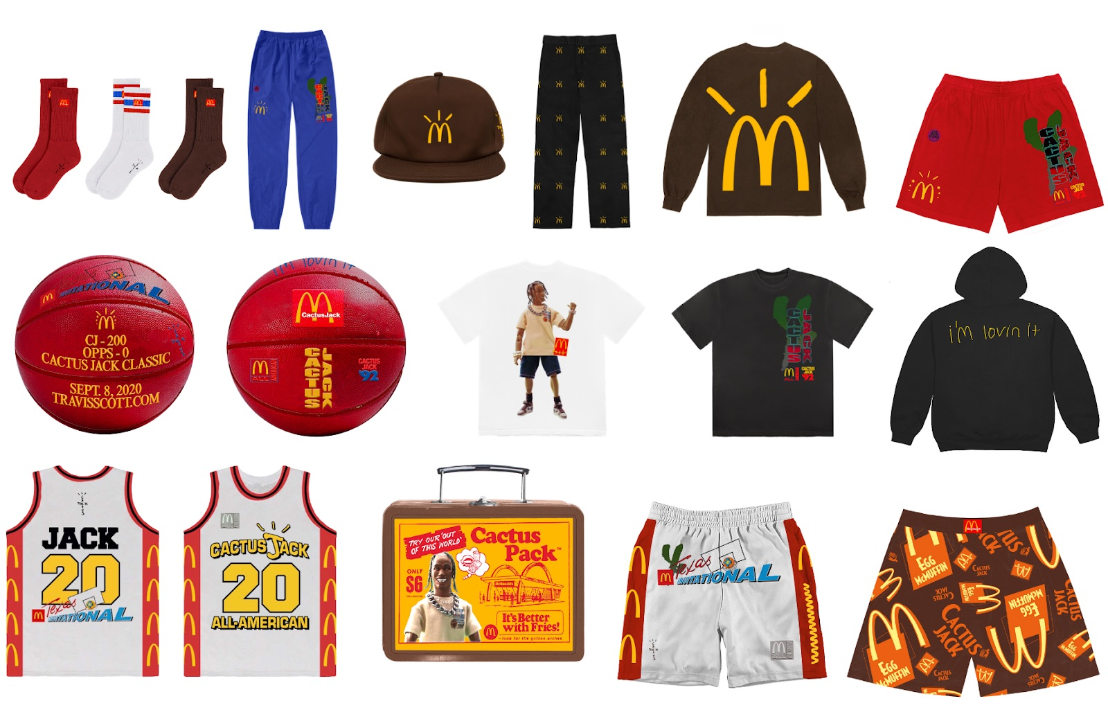 Travis Scott and McDonald's merch offerings