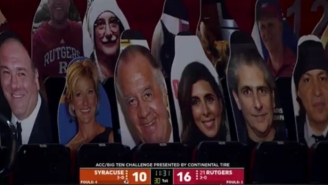 Rutgers Has A Line Of 'Sopranos' Cutouts In The Stands At Its Basketball Arena