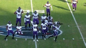 The Ravens Celebrated Their Game-Sealing Interception By Dancing On The Titans Logo