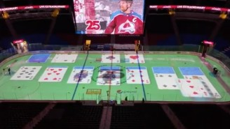The Avalanche Are Projecting Games On The Ice During Intermission Because There Are No Fans