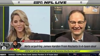 Woj Was Giddy To Break The James Harden Trade On ESPN's 'NFL Live'