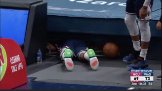 Bradley Beal Crawled Under The Stands To Fetch The Ball During Rockets-Wizards