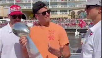 Tom Brady Claimed A 'W' And Sampled Eminem Minutes After Looking Sloshed At Tampa Bay's Super Bowl Boat Parade